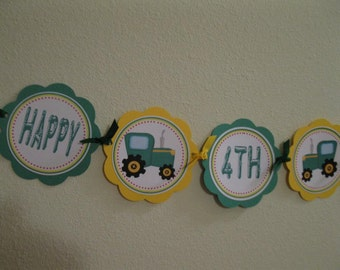 Tractor Happy BIrthday Word Banner