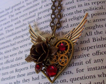 Steampunk Winged Heart Pendant (HP604) - Bronze Filigree Heart Pendant and Rose - Brass Gears - Silver Wings and Gear - Swarovski Crystal