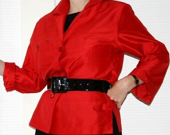 Bright red pure silk blouse top by designer Linda Allard Ellen Tracy / 1980s 90s luxury dressy fashion / button front