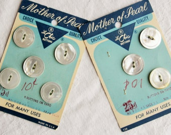 Vintage white ivory mother of pearl button cards set / real ocean shell / Le Chic on original card new old stock / cats eye sew through