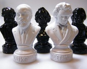 5 Vintage Composer Busts / Classical Music Lover Collection / Beethoven, Tchaikovsky, Schumann, Mendelssohn, Verdi / 5 Inch light PLASTIC