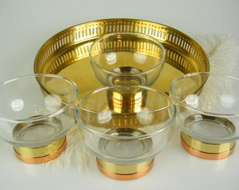 Cocktail Glasses and Brass Serving Tray / Retro Barware / Mid Century Modern / Brass & Copper Ring / Bart Cart Accessory /  Set of 5
