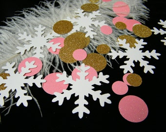 Pink and Gold First Birthday Baby Shower Party Decoration - Winter ONEderland Party - Snowflake Table Confetti - Princess Party - 100 pcs