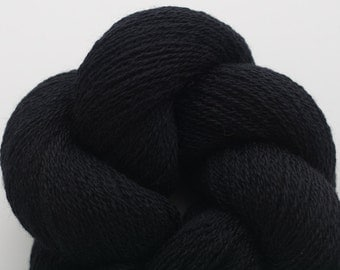 Recycled Merino Lace Weight Yarn, Bat Black Merino Yarn, 2205 Yards Available
