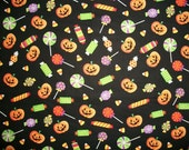 Halloween Fabric, Pumpkins Fabric, By The Yard, Brothers Sister Design Collection, Black Orange Crafting Sewing Fabric, Candy Fabric
