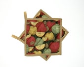 Pot Holders Quilted Apples Primitive Country Decor Set of 2