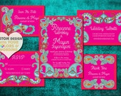 Reserved for Michelle - Indian Wedding Invitation Set PAISLEY HENNA Boho Design Save The Date Card Mehndi Mehendi Hindu Asian Punjabi Sikh