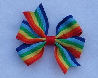 Rainbow Print Hairbow~Rainbow Boutique Hair Bow~Boutique Hair Bow~Basic Hair Bow~Simple Hair Bow~Small Pinwheel Hair Bow~Birthday Hair Bow