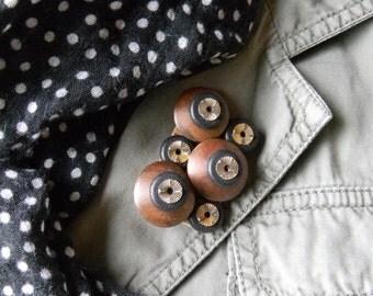 Art Brooch - Beads in Black & Brown - Found Object Jewelry by Jen Hardwick