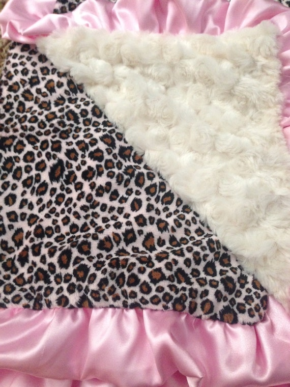 """Pink Leopard Baby Blanket 32""""x 40""""-Ready to ship!"""