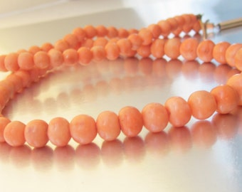 Antique Victorian Coral Necklace 10K Rose Gold Clasp. Antique Bridal Necklace.