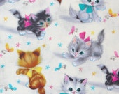 Smitten Kittens, Kittens fabric, 1950's Style, Kittens with Butterflies,  Vintage Style, Natural Background, By the Yard