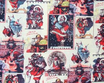 Christmas Fabric, Vintage Santa, Norman Rockwell, Santa Fabric,  Santa and Children, Cotton Fabric, By the Yard