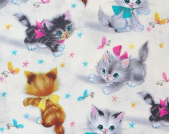 Smitten Kittens, Michael Miller, Kittens fabric, 1950's Style, Kittens with Butterflies,  Vintage Style, Natural Background, By the Yard