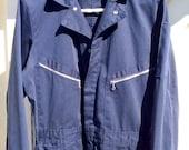 Vintage DICKIES Long Sleeve Zip Pockets Work Mechanic COVERALLS Mens 40M Cotton Blend Navy