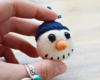 Felt Snowman Brooch - Christmas Needle Felt Jewellery Snowman with Navy Blue Crocheted Hat