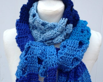 Super Extra Long Scarf Shades of Blue Crochet Oversized Handmade  Soft and Fluffy