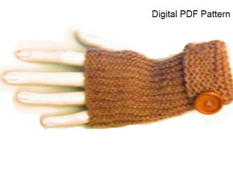 Fingerless Knitting Gloves Garter Stitch Easy Knit Hand Warmers Wrist Warmers Pattern. Is not a finished product is a PDF Pattern