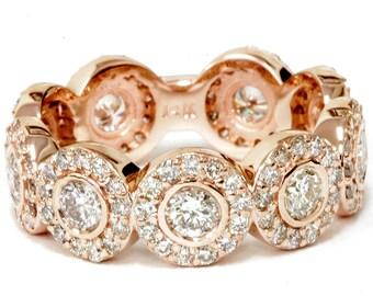rose gold wedding ring 2 13ct round diamond engagement ring bezel halo 14k rose - Rose Gold Wedding Rings For Women