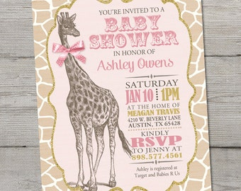 Vintage Giraffe Baby Shower Invitation, PRINTABLE Giraffe Baby Shower Theme, Giraffe Birthday, Pink Baby Shower Invitation, ID: BS125906
