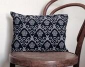 Small Indigo and Grey Ikat Decorative Pillow. Vintage Kimono wool and linen