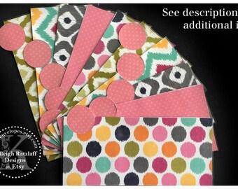 LAMINATED Cash Envelope System in Rainbow Polka (10 envelopes)