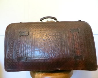 Vintage Tooled Leather Bag Suitcase Valise Weekender Luggage Dark Brown Leather Indian Head Native American Mexican Southwest