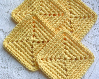 Crochet Coasters - Yellow Square Coaster Set - Drink Coasters - Mug Mats -Rustic Cottage Kitchen Decor