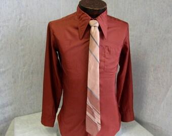 "70s 15"" Silk Shiny Big Collar Men's SHIRT Rust Vintage Pink Gray Silk Tie"