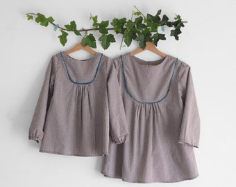 Girls peasant top, gathered yoke, long sleeve length. Mother and daughter matching outfits. Sizes 2y to 10y. Made to order.