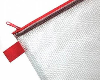 "10"" x 13"" Zippered Mesh Storage Bag : counted cross stitch embroidery needlework knitting crochet sewing organization"
