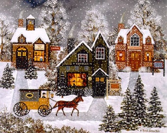 A Real Snow Job : Heaven and Earth Designs Jane Wooster Scott counted cross stitch patterns embroidery Christmas December Winter village