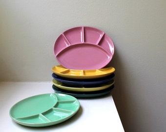 Vintage Modern Fondue Plates Oval Set of 6 Mid Century Bückeburg Keramik Germany 1960's
