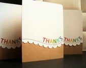 Handmade Thank You Cards Set of 5, Rainbow Thank You Notes, Rainbow Cards Set