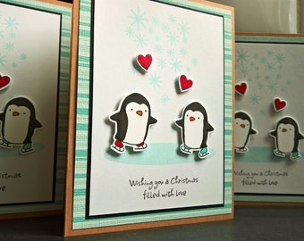 Penguin Christmas Cards Set of 3, Holiday Cards Set, Merry Christmas Cards, Ice Skating Cards