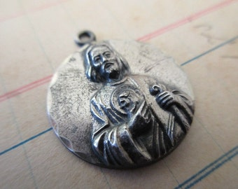 vintage St Jude sterling silver charm- medal, religious