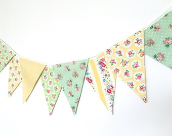 Spring Time Bunting, Fabric Banners, Wedding Bunting, Floral, Yellow and Green Shade - 3 yards