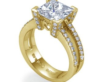 Princess Cut Princess Enhanced Natural Diamond Ring G VS2 Diamond Ring , Princess Cut 18K Yellow Gold Engagement Ring Wedding Bridal Jewelry