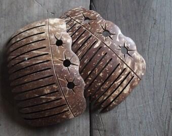 Coconut Wood Decorative Comb Hair Accessory Unique Designs Handmade Eco Friendly