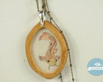 Handembroidered needlepainted Koi Fish Necklace Pendant