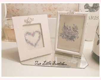 Set of Two Frames, White and Pink, Aged Picture Frames, Twofer!