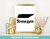 Tennessee Print | DIY Printable | Print at Home| Instant Download | Printable | State Wall Art |  Map Art | Travel Poster | Map Print