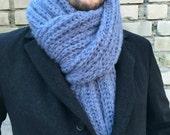 Chunky Knit Scarf / Men Scarf / Mohair Scarf / Bulky Knit Scarf / Men Knit Scarf / Fringe Scarf / Oversized Knit Scarf