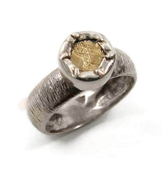 Sterling silver ring. Silver and gold ring. Small Coin ring. Floral ring. (gsr-7125). floral gold ring, special birthday gift for her.