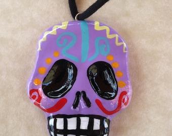 Skull Dia De Los Muertos necklace
