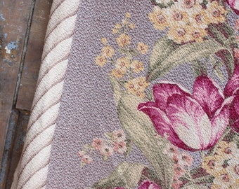 French Farmhouse Blue Gray Pink Floral Vintage Nubby Barkcloth Drapery Panels Curtains