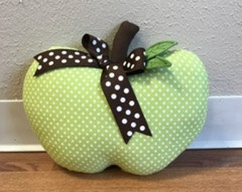 Apple Pillow Green and White Polka Dot