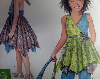 HALTER SUNDRESS Pattern • Simplicity 2431 • Girls 3-8 • Hankie Hem Top • Daisy Kingdom • Capri Pants • Children's Patterns • WhiletheCatNaps