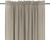 Window curtains, Linen curtain panels, Natural curtains, Custom color Unlined, Lined or blackout curtains with rod pocket top and header
