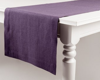 Violet table runner made of pure linen Classic table linens collection